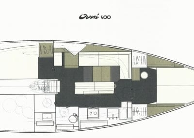 Ovni 400 layout plan 2 cabins 1 head
