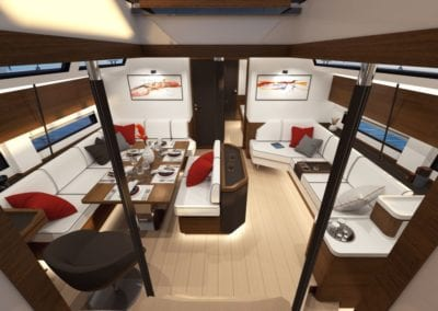 AMEL 60 Mainsaloon from companionway