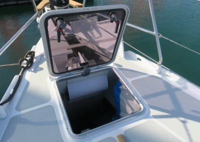 Ovni 400 foredeck sail locker